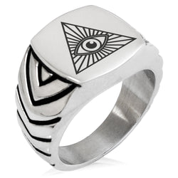 Stainless Steel All Seeing Eye Chevron Pattern Biker Style Polished Ring - Tioneer