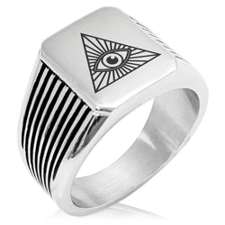 Stainless Steel All Seeing Eye Needle Stripe Pattern Biker Style Polished Ring - Tioneer