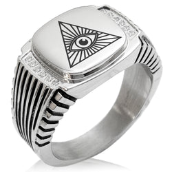 Stainless Steel All Seeing Eye CZ Ribbed Needle Stripe Pattern Biker Style Polished Ring - Tioneer