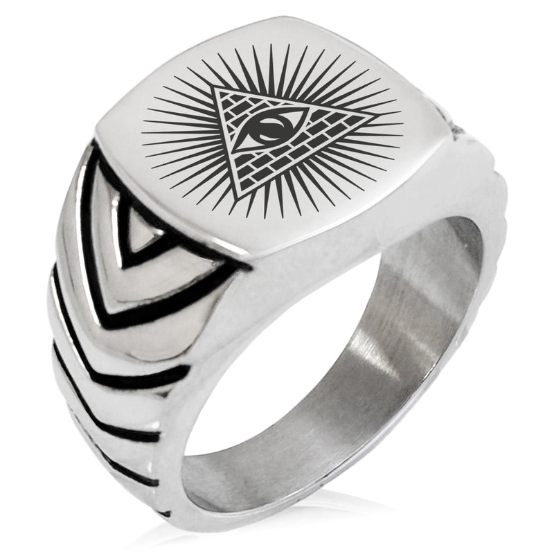 Stainless Steel All Seeing Eye of Providence Chevron Pattern Biker Style Polished Ring - Tioneer