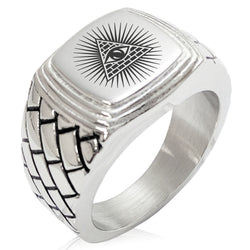 Stainless Steel All Seeing Eye of Providence Geometric Pattern Step-Down Biker Style Polished Ring - Tioneer