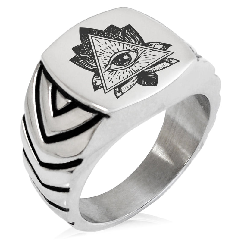 Stainless Steel All Seeing Eye Sacred Lotus Chevron Pattern Biker Style Polished Ring - Tioneer