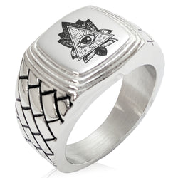 Stainless Steel All Seeing Eye Sacred Lotus Geometric Pattern Step-Down Biker Style Polished Ring - Tioneer
