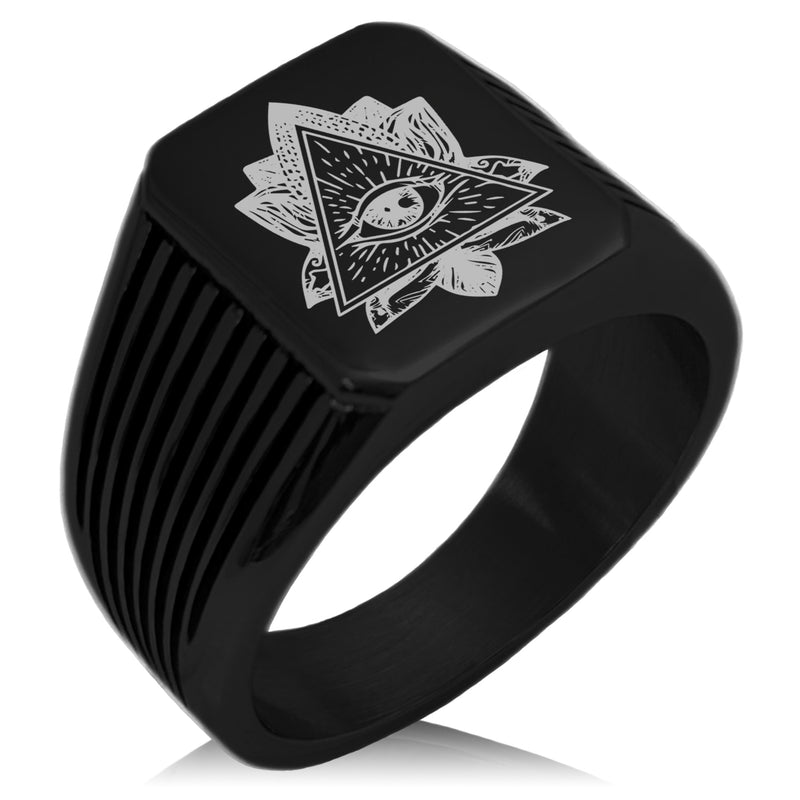 Stainless Steel All Seeing Eye Sacred Lotus Needle Stripe Pattern Biker Style Polished Ring - Tioneer