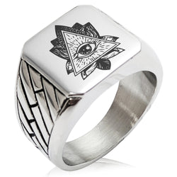 Stainless Steel All Seeing Eye Sacred Lotus Geometric Pattern Biker Style Polished Ring - Tioneer