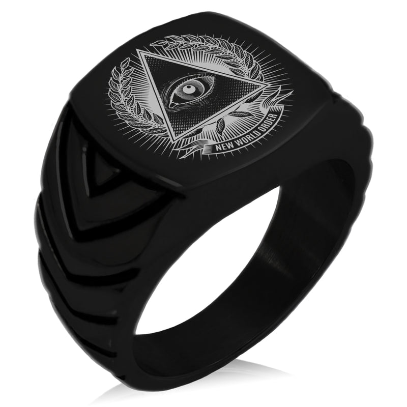 Stainless Steel All Seeing Eye New World Order Chevron Pattern Biker Style Polished Ring - Tioneer