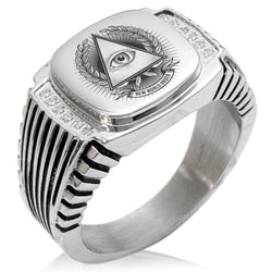 Stainless Steel All Seeing Eye New World Order CZ Ribbed Needle Stripe Pattern Biker Style Polished Ring - Tioneer