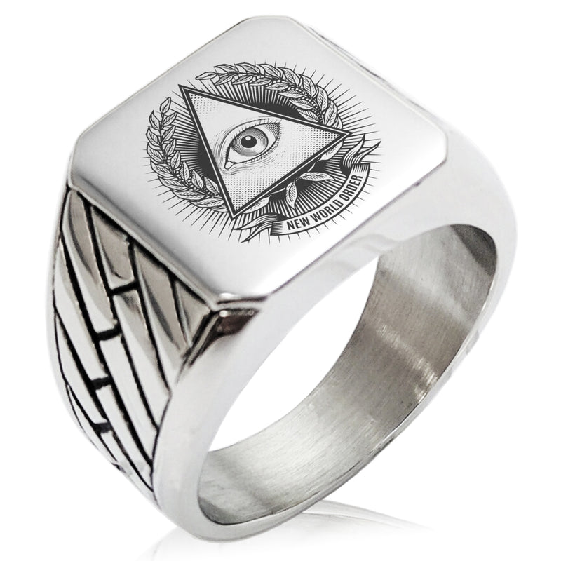 Stainless Steel All Seeing Eye New World Order Geometric Pattern Biker Style Polished Ring - Tioneer