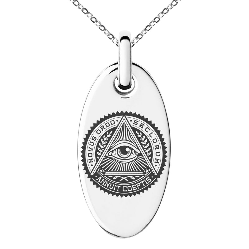 Stainless Steel All Seeing Eye Novus Ordo Seclorum Engraved Small Oval Charm Pendant Necklace