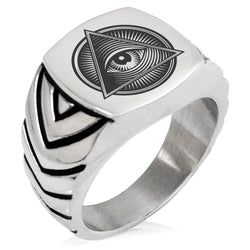 Stainless Steel All Seeing Eye Emblem Chevron Pattern Biker Style Polished Ring - Tioneer