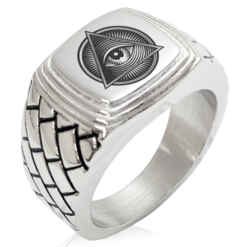 Stainless Steel All Seeing Eye Emblem Geometric Pattern Step-Down Biker Style Polished Ring - Tioneer