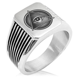 Stainless Steel All Seeing Eye Emblem Needle Stripe Pattern Biker Style Polished Ring - Tioneer