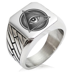 Stainless Steel All Seeing Eye Emblem Geometric Pattern Biker Style Polished Ring - Tioneer