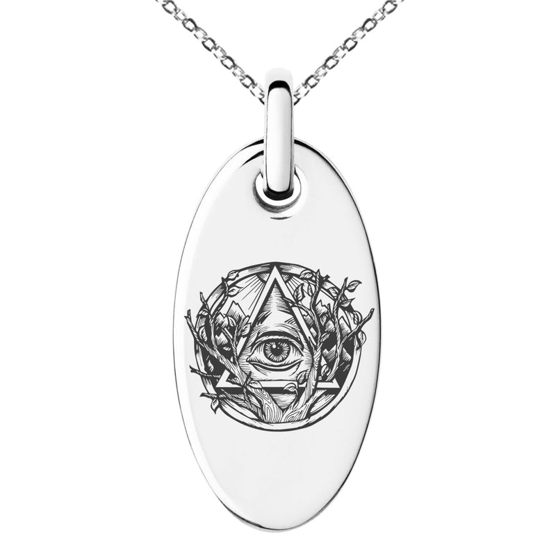 Stainless Steel Rootless All Seeing Eye Engraved Small Oval Charm Pendant Necklace - Tioneer