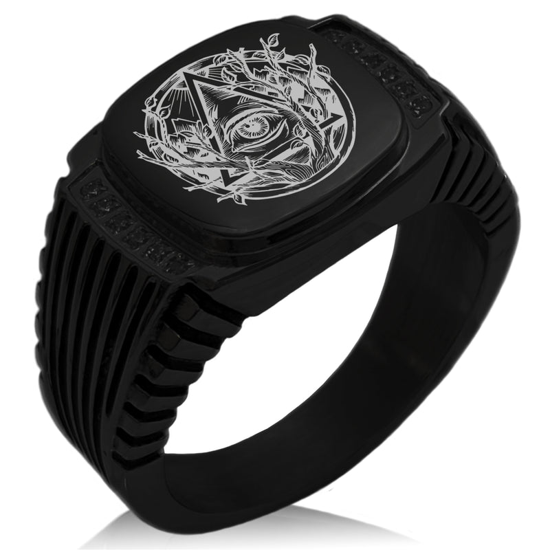 Stainless Steel Rootless All Seeing Eye CZ Ribbed Needle Stripe Pattern Biker Style Polished Ring - Tioneer