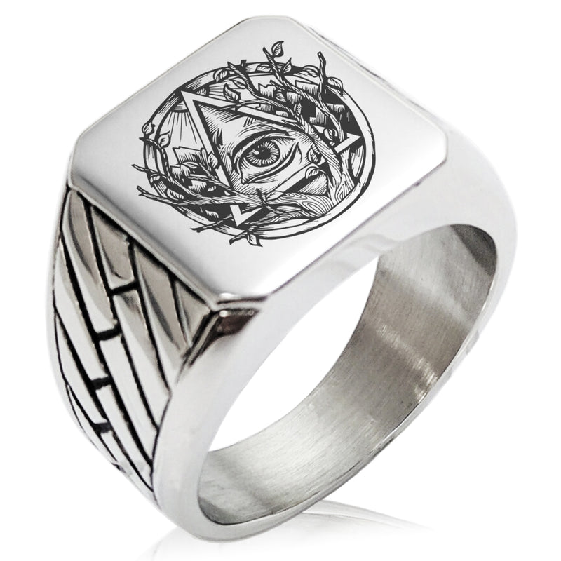 Stainless Steel Rootless All Seeing Eye Geometric Pattern Biker Style Polished Ring - Tioneer