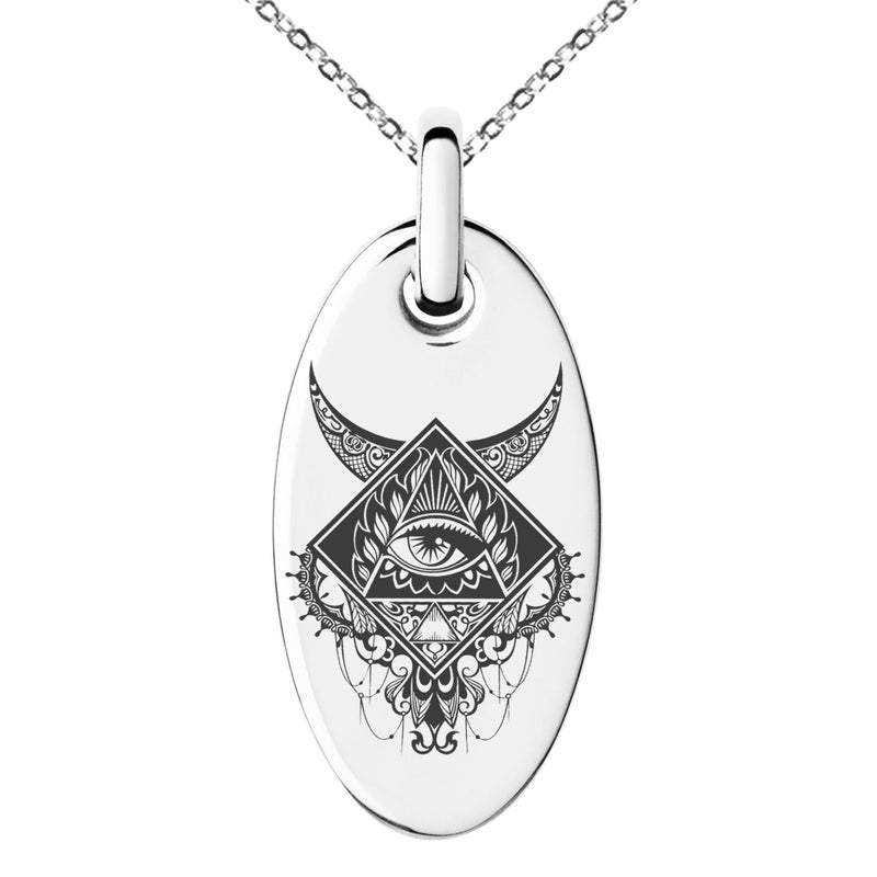 Stainless Steel Spiritual All Seeing Eye Engraved Small Oval Charm Pendant Necklace - Tioneer