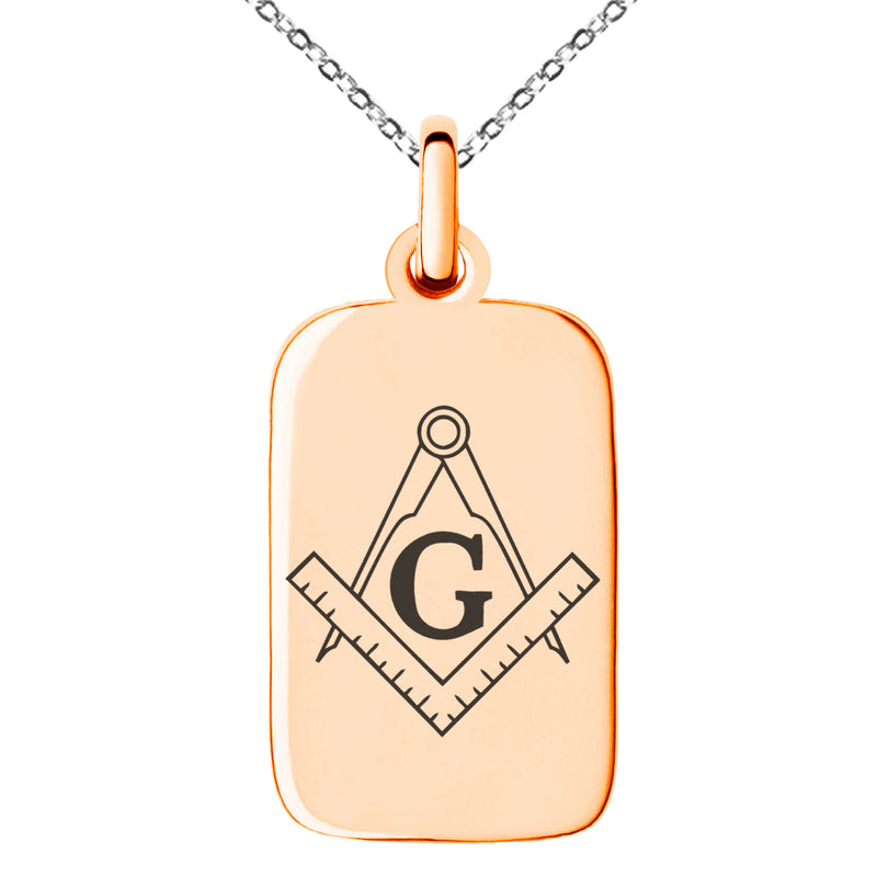 Stainless Steel Freemasons Masonic Compass Engraved Small Rectangle Dog Tag Charm Pendant Necklace