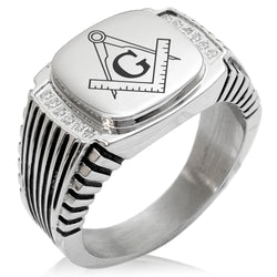Stainless Steel Freemasons Masonic Compass CZ Ribbed Needle Stripe Pattern Biker Style Polished Ring - Tioneer