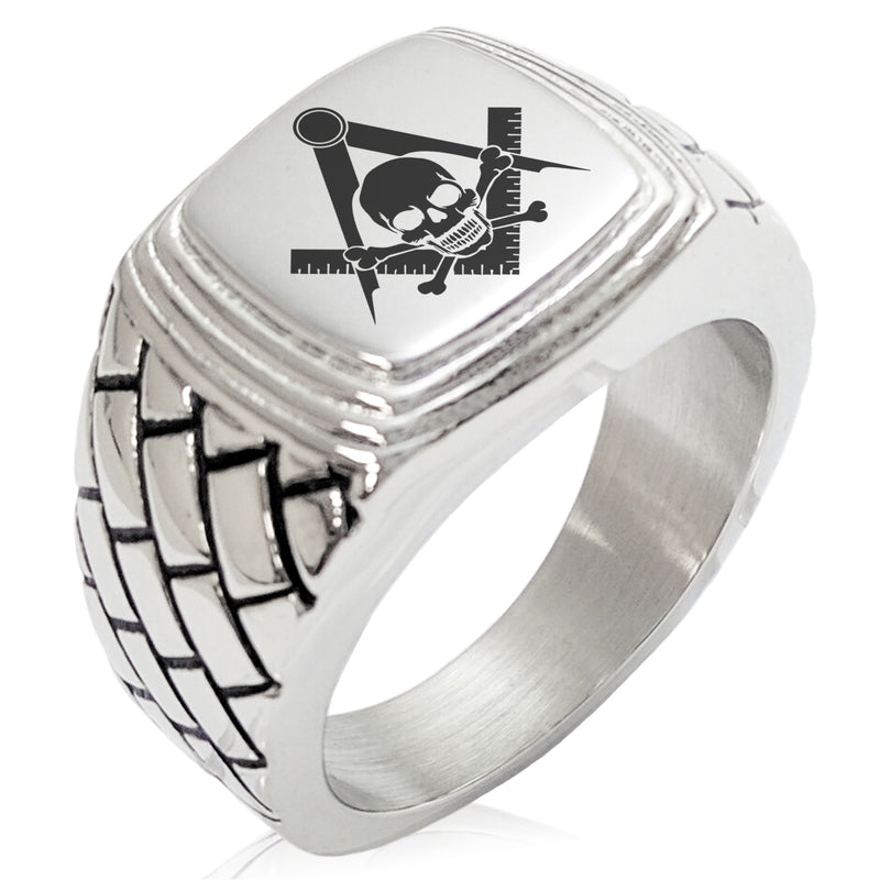 Stainless Steel Freemasons Masonic Skull & Crossbones Geometric Pattern Step-Down Biker Style Polished Ring - Tioneer