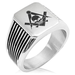 Stainless Steel Freemasons Masonic Skull & Crossbones Needle Stripe Pattern Biker Style Polished Ring - Tioneer