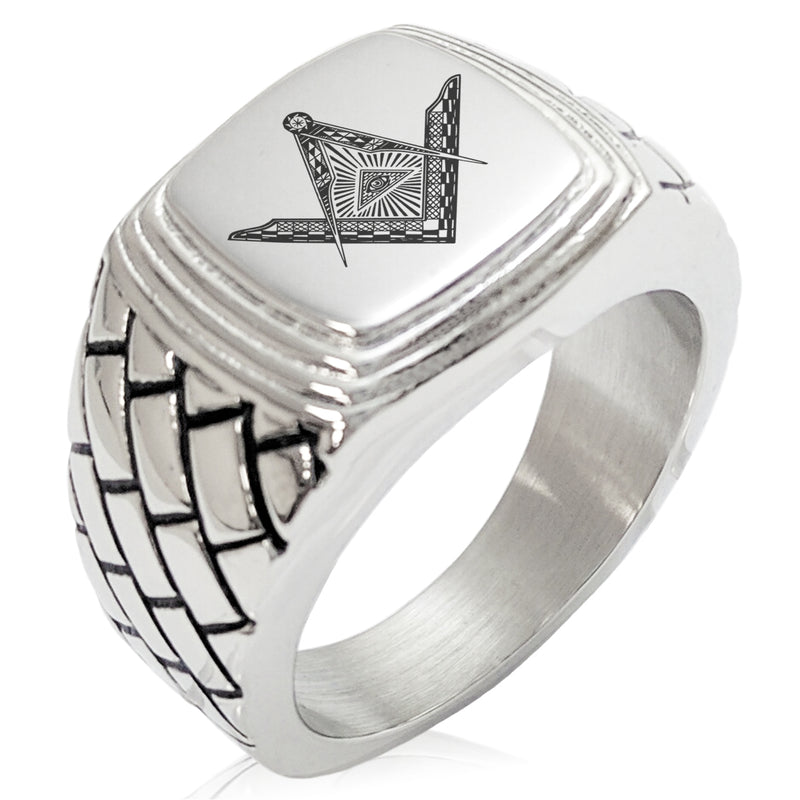 Stainless Steel Freemasons Masonic Eye of Providence Geometric Pattern Step-Down Biker Style Polished Ring - Tioneer