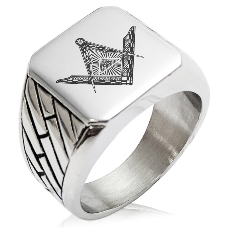 Stainless Steel Freemasons Masonic Eye of Providence Geometric Pattern Biker Style Polished Ring - Tioneer