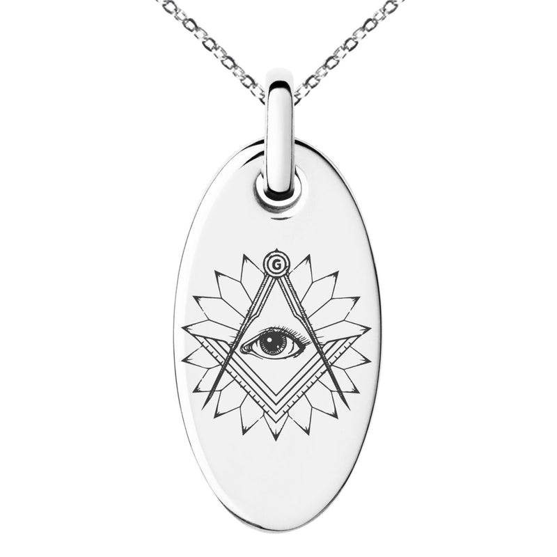 Stainless Steel Freemasons Masonic Lotus All Seeing Eye Engraved Small Oval Charm Pendant Necklace