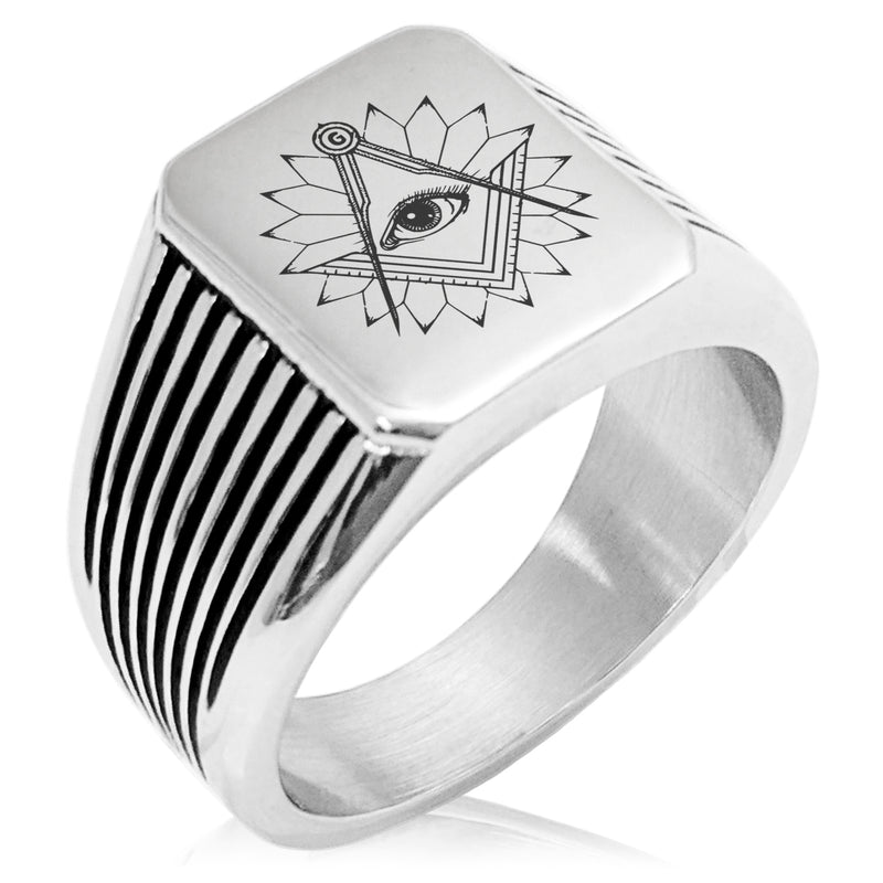 Stainless Steel Freemasons Masonic Lotus All Seeing Eye Needle Stripe Pattern Biker Style Polished Ring - Tioneer