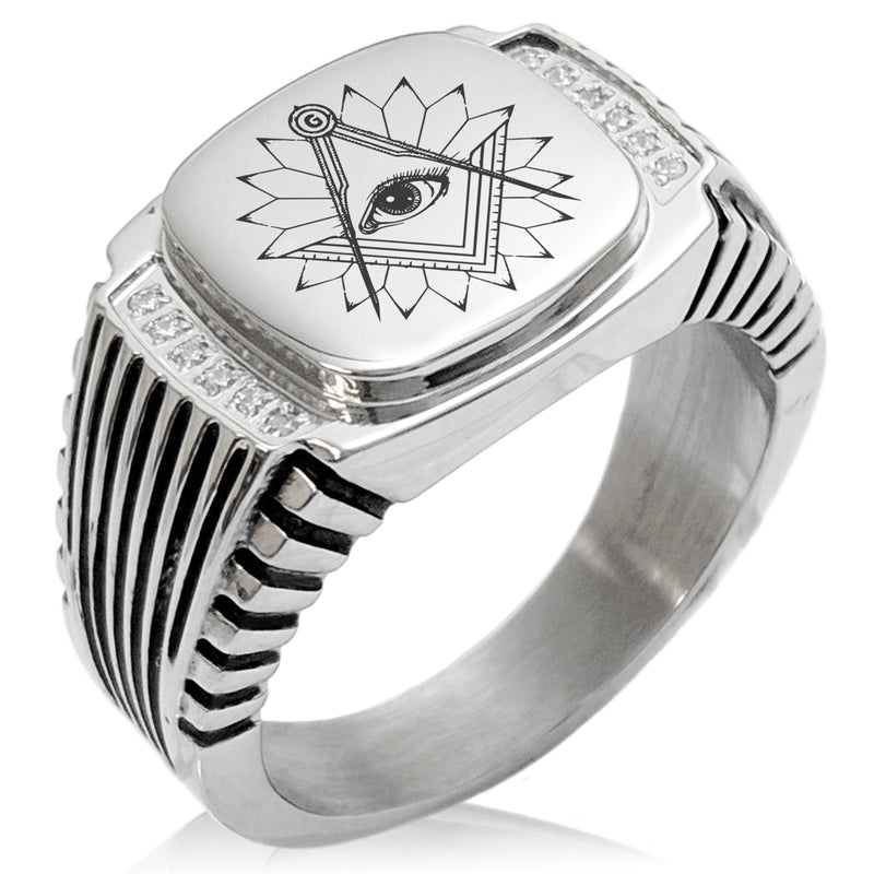 Stainless Steel Freemasons Masonic Lotus All Seeing Eye CZ Ribbed Needle Stripe Pattern Biker Style Polished Ring - Tioneer