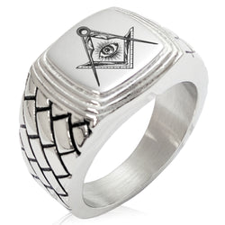 Stainless Steel Freemasons Masonic Sacred Society Geometric Pattern Step-Down Biker Style Polished Ring - Tioneer