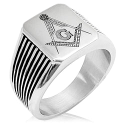 Stainless Steel Freemasons Masonic Floral Compass Needle Stripe Pattern Biker Style Polished Ring - Tioneer