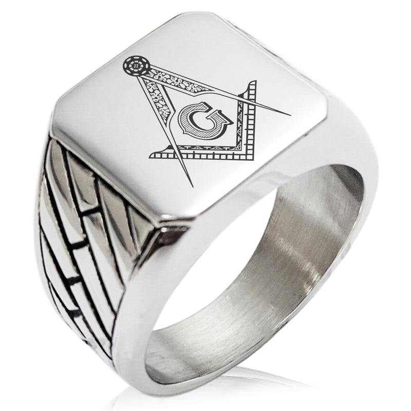 Stainless Steel Freemasons Masonic Floral Compass Geometric Pattern Biker Style Polished Ring - Tioneer