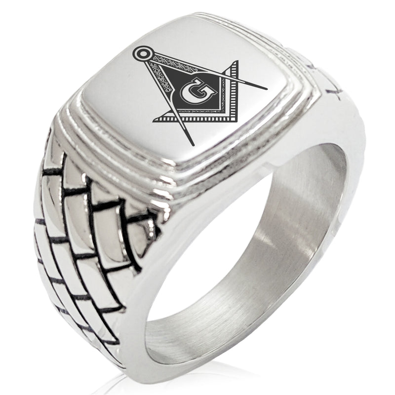 Stainless Steel Freemasons Masonic Royal Compass Geometric Pattern Step-Down Biker Style Polished Ring - Tioneer