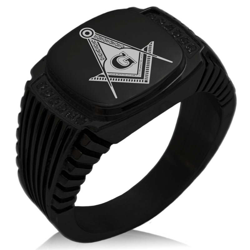 Stainless Steel Freemasons Masonic Royal Compass CZ Ribbed Needle Stripe Pattern Biker Style Polished Ring - Tioneer