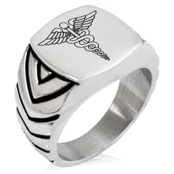 Stainless Steel Caduceus Staff of Hermes Chevron Pattern Biker Style Polished Ring - Tioneer