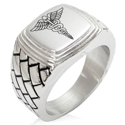 Stainless Steel Caduceus Staff of Hermes Geometric Pattern Step-Down Biker Style Polished Ring - Tioneer