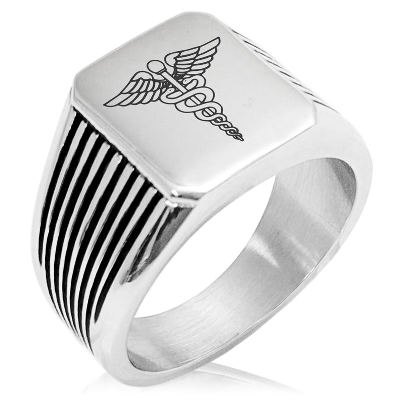 Stainless Steel Caduceus Staff of Hermes Needle Stripe Pattern Biker Style Polished Ring - Tioneer
