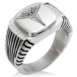 Stainless Steel Caduceus Staff of Hermes CZ Ribbed Needle Stripe Pattern Biker Style Polished Ring - Tioneer