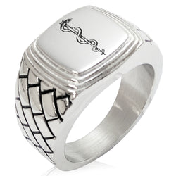 Stainless Steel Rod of Asclepius Geometric Pattern Step-Down Biker Style Polished Ring - Tioneer