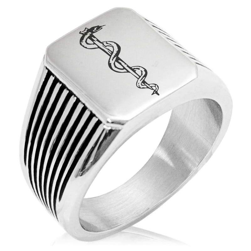 Stainless Steel Rod of Asclepius Needle Stripe Pattern Biker Style Polished Ring - Tioneer