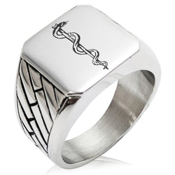Stainless Steel Rod of Asclepius Geometric Pattern Biker Style Polished Ring - Tioneer