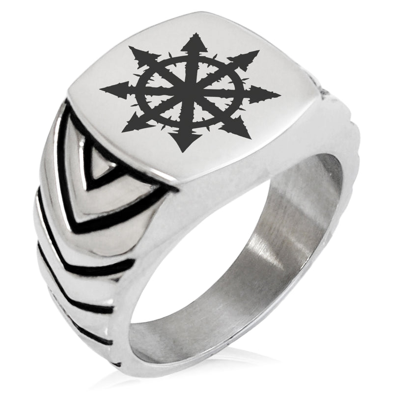 Stainless Steel Chaos Chevron Pattern Biker Style Polished Ring - Tioneer