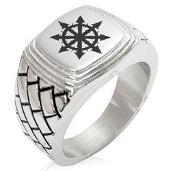 Stainless Steel Chaos Geometric Pattern Step-Down Biker Style Polished Ring - Tioneer