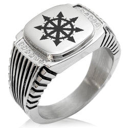 Stainless Steel Chaos CZ Ribbed Needle Stripe Pattern Biker Style Polished Ring - Tioneer