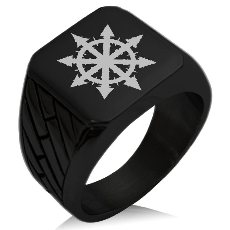 Stainless Steel Chaos Geometric Pattern Biker Style Polished Ring - Tioneer