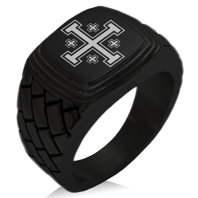 Stainless Steel Jerusalem Cross Geometric Pattern Step-Down Biker Style Polished Ring - Tioneer