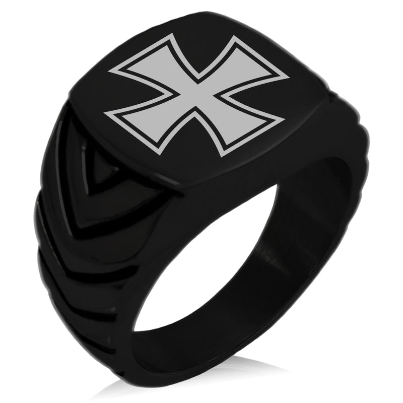 Stainless Steel Pattee Iron Cross Chevron Pattern Biker Style Polished Ring - Tioneer