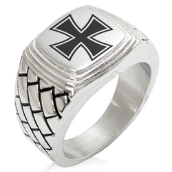 Stainless Steel Pattee Iron Cross Geometric Pattern Step-Down Biker Style Polished Ring - Tioneer