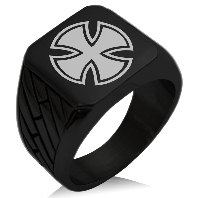 Stainless Steel Pattee Iron Cross Circlet Geometric Pattern Biker Style Polished Ring - Tioneer